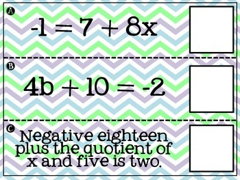 Two Step Equation Matching Activity