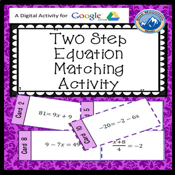 Two Step Equation Matching Card Google Activity Plus Quiz