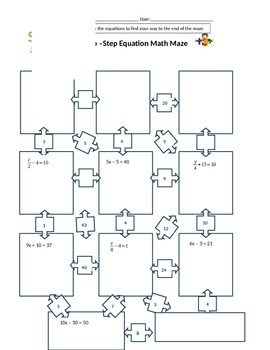 Two Step Equation Math Maze