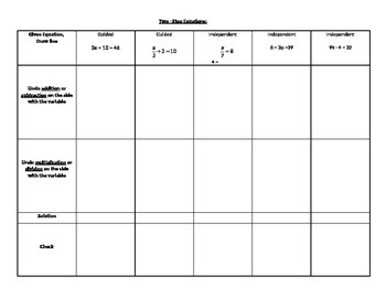 Two-Step Equation Notes, Guided Problems, and Independent Problems