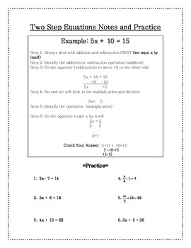 Two Step Equation Notes and Practice