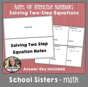 Two Step Equation Notes for Interactive Notebooks