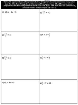 Two Step Equation Partner Activity
