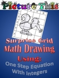 Picture This Grid Drawing: One Step Equation Puzzle Worksheet