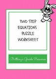 Two Step Equation Puzzle Worksheet