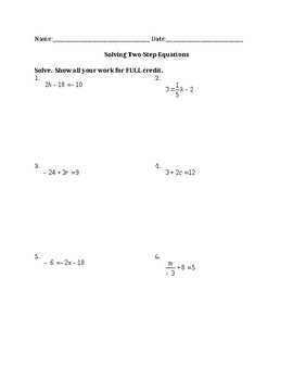 Two Step Equation Quiz