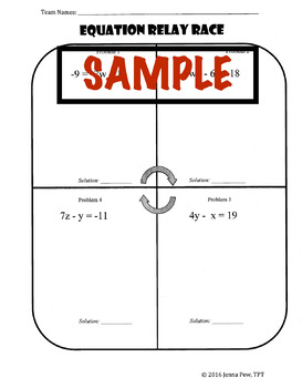 Two-Step Equation Relay Race