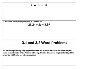 Two Step Equation Review Activity