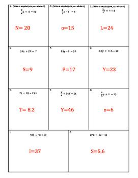 "Two Step Equation Riddle (""favorite dessert"")"