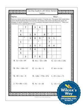 Two Step Equation Sudoku Game