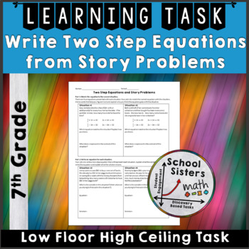 Two Step Equation Story Problems Task