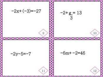 Two Step Equation Task Cards
