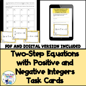 Two-Step Equation Task Cards CCS 7.EE.4