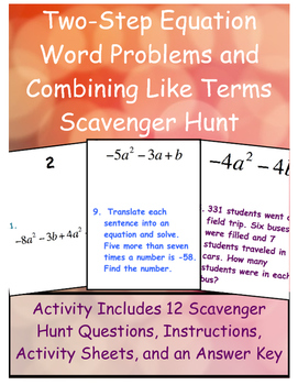 Two-Step Equation Word Problem and Combining Like Terms Scavenger Hunt