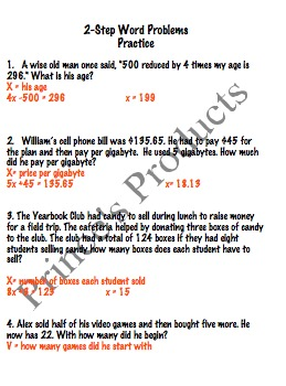Two Step Equation Word Problems 7.EE.4a Lesson 9