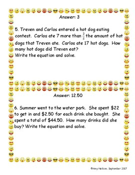 Two-Step Equation Word Problems Scavenger Hunt