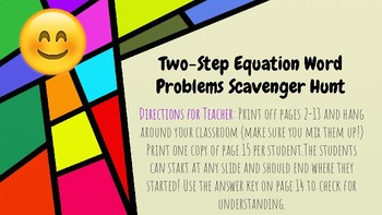 Two Step Equation Word Problems Scavenger Hunt (with Emojis!)
