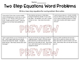 Two Step Equation Word Problems Worksheet
