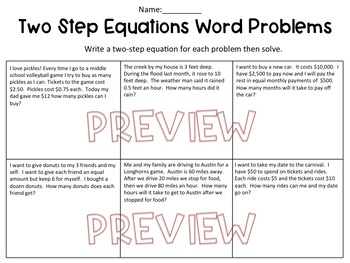 One Step Equation Word Problems Worksheets
