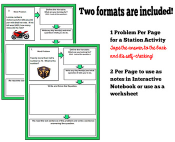Two-Step Equation Word Problems on a Flow Chart Activity/Worksheet