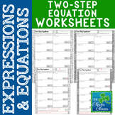 Solving Two-Step Equations Worksheets
