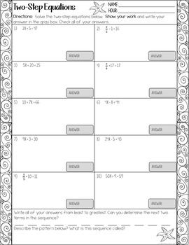 Solving Two Step Equations Worksheets By The Clever Clover Tpt