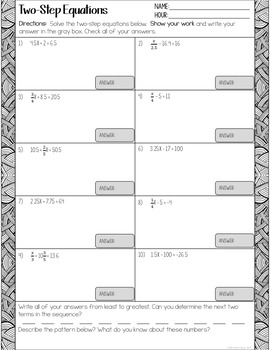 Solving Two Step Equations Worksheets By The Clever Clover Tpt Two-Step Equations Pre-Algebra Worksheets With Answers Solving Two Step Equations Worksheets
