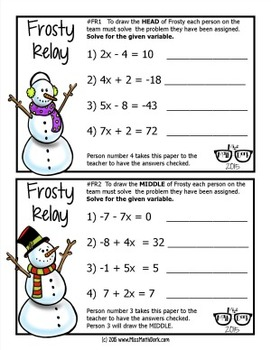 Two-Step Equations and Inequalities Frosty Relay: A fun way to review!