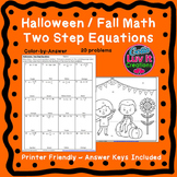 Halloween Fall Two Step Equations Color by Number Coloring Page