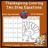 Thanksgiving Fall Two Step Equations Color by Number Coloring Page