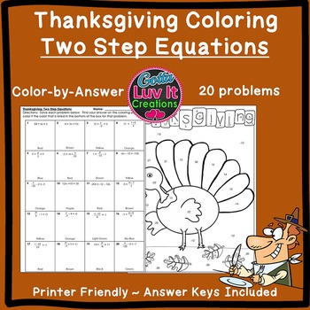 Thanksgiving Solving Equations Two Step Equations Color by Number Coloring Page
