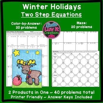 Christmas Math Two Step Equations Maze & Color by Number Christmas Activity