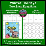Christmas Math Winter Math Solving Equations Two Step Equations Activity Bundle