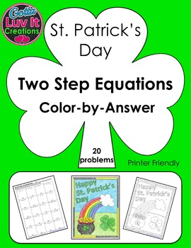 St. Patrick's Day Two Step Equations Color-by-Answer
