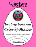 Easter Spring Solving Equations Two Step Equations Color-by-Answer