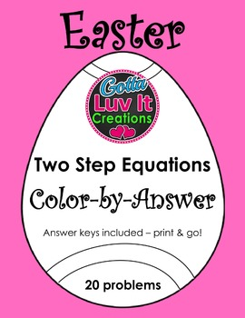 Easter Spring Two Step Equations Color-by-Answer