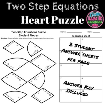 Solving Equations Valentine's Day Math Two Step Equations Puzzle Activity