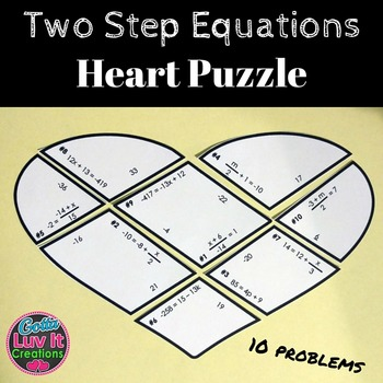 Valentine's Day Math Two Step Equations Heart Puzzle - Val
