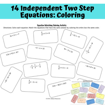 Two-Step Equations Activities: Independent, Partner, and Table Practice