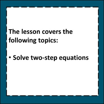 Two-Step Equations Algebra Lesson