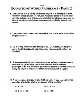 Two-Step Equations Application Problems Worksheet - 20 Unique Word Problems