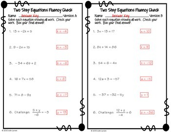Two Step Equations Basic No Fractions : No Prep Fluent in Math Series