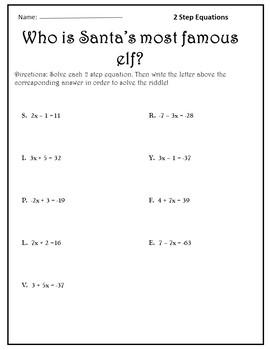 Two Step Equations for Christmas {Pre Algebra Christmas Activity}