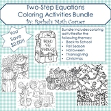 Two-Step Equations Color By Number Bundle (First Semester Holidays)