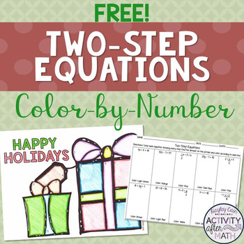 FREE TwoStep Equations Color By Number Christmas Math Activity