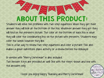 FREE Two-Step Equations Color By Number Christmas Math Activity!