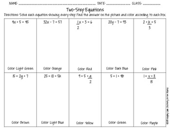 Two-Step Equations Color By Number Christmas Math Activity FREEBIE
