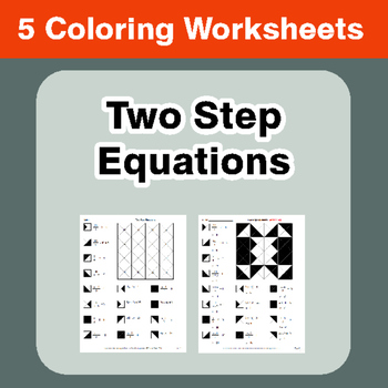 Two Step Equations - Coloring Worksheets