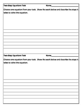 Two-Step Equations Die Task Response Sheet