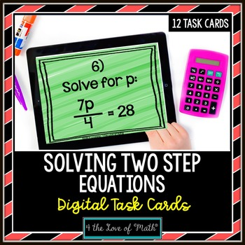 Two Step Equations: Digital Task Cards